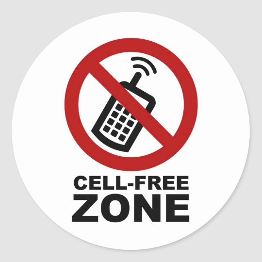 cell phone free zone classic round sticker. Black Bedroom Furniture Sets. Home Design Ideas