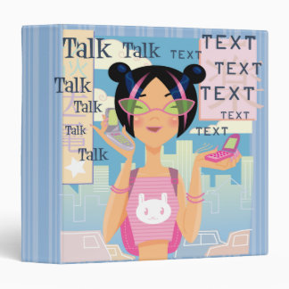 Cell Phone Girl Teenager  Notebook Vinyl Binder
