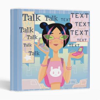 Cell Phone Girl Teenager  Notebook Binder