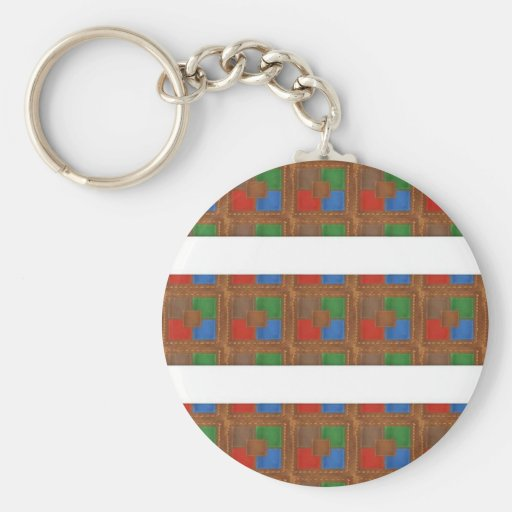 Cell  Phone Junky : LEATHER Patchwork Look Art Key Chain