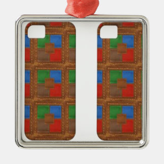 Cell  Phone Junky : LEATHER Patchwork Look Art Christmas Ornaments