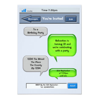 Cell Phone Text Party Card