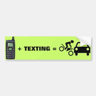 Cell Phone + Texting Bumper Sticker Car Bumper Sticker