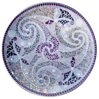 cell tic tops mosaic in purple glasses dinner plate