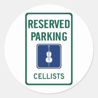 Cellists Parking Classic Round Sticker