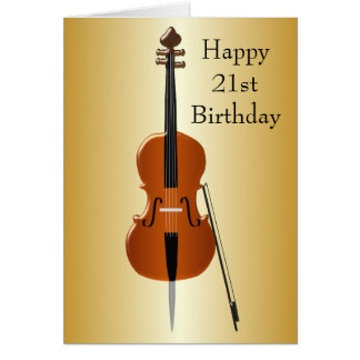 Cello 21st Birthday Card
