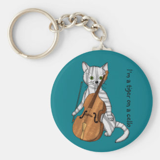 Cello and a Tiger Cat Keychain