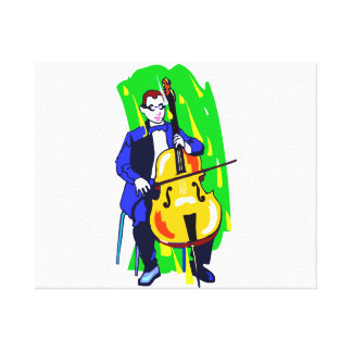 Cello Bass Orchestra Player Blue Suit Seated Canvas Print