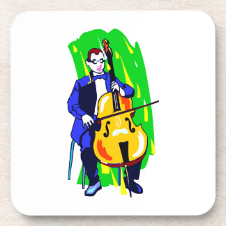 Cello Bass Orchestra Player Blue Suit Seated Drink Coasters