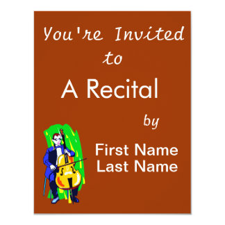 Cello Bass Orchestra Player Blue Suit Seated 4.25x5.5 Paper Invitation Card
