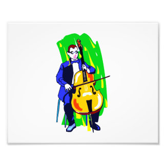 Cello Bass Orchestra Player Blue Suit Seated Photographic Print