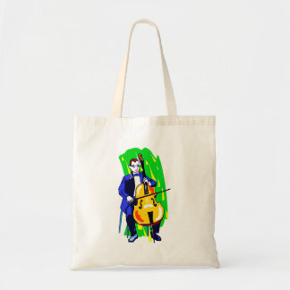 Cello Bass Orchestra Player Blue Suit Seated Tote Bag