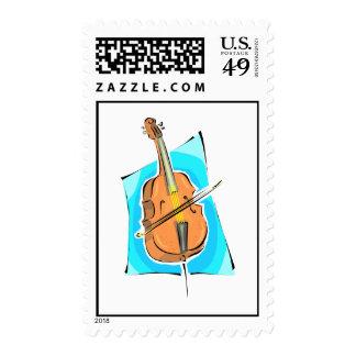 Cello Blue Back Stringed Instrument Design Postage Stamp