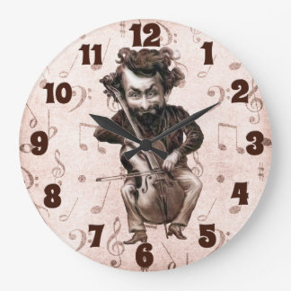 Cello Chops | Vintage Musician | Monogrammed Large Clock