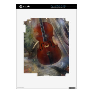 Cello, Clarinet & Flute Musical Collage Skin For iPad 2