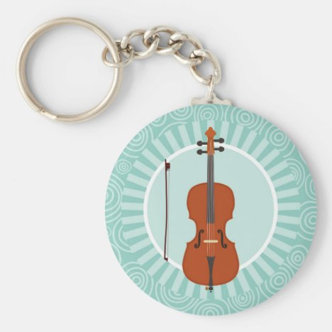 Cello Fun Turquoise Swirl Music Keychain