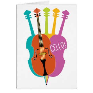 Cello Hello Musical Instruments Colorful Note Card