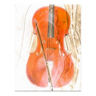 Cello illustration in neutral brown tones postcard