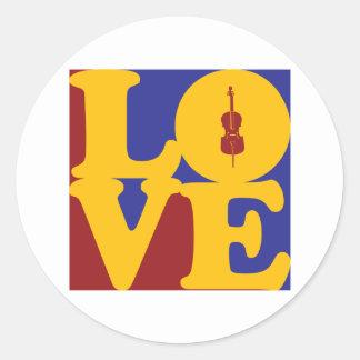 Cello Love Classic Round Sticker