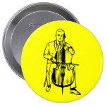 Cello man plays Bach Anstecknadelbutton