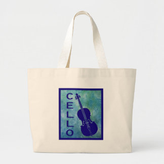 Cello on a Field of Blue Canvas Bag