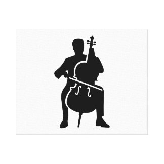 Cello player stretched canvas print