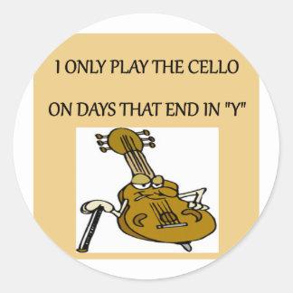 cello player classic round sticker