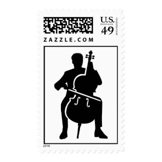 Cello player stamps