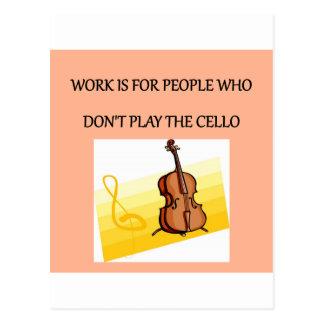 cello player postcard