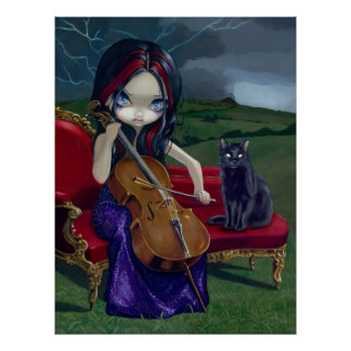 Cello Storm Art Print black cat gothic music