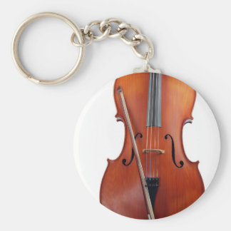 Cello with bow close up keychain