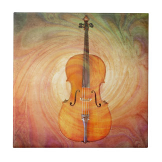 Cello with warm colorful textured background. ceramic tile