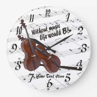 Cello - Without Music Life Would B Flat Wall Clock