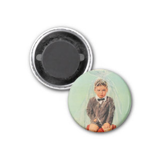 Cellophane Boy Wrapped Up Vintage 1950s Magnet