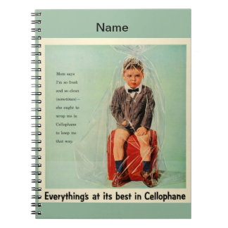 Cellophane Boy Wrapped Up Vintage 1950s Notebook