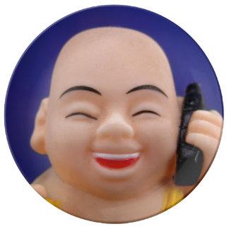 Cellphone Monk Plate Porcelain Plate