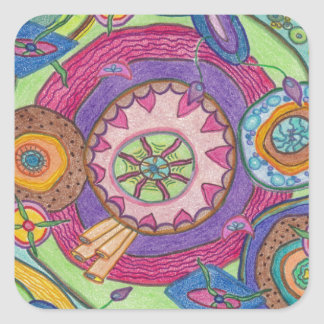 Cells: Crayon Art by Nana B. Square Sticker