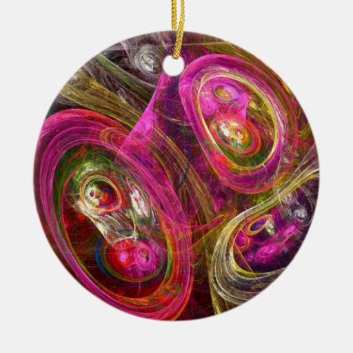 Celluar Double-Sided Ceramic Round Christmas Ornament