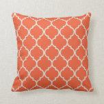 Celosia Orange and White Lattice Pillow Pillow