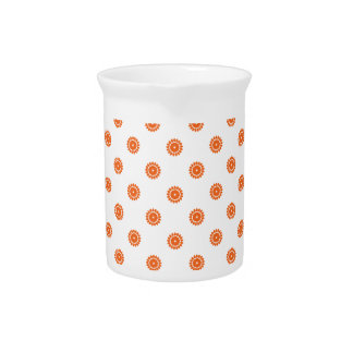 Celosia Orange Flower Pattern 4 Pitchers