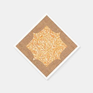 Celosia Orange Vintage Scrollwork + Burlap Design Napkin