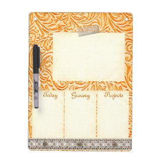 Celosia Orange Vintage Tin Tile Look Rustic Home Dry Erase Board