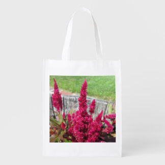 Celosia Red Rustic Fence Garden Market Totes