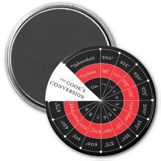Celsius a la tabla de conversión de la temperatura imán redondo 7 cm