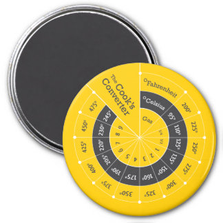 Celsius to Fahrenheit Cooking Conversion Chart 3 Inch Round Magnet