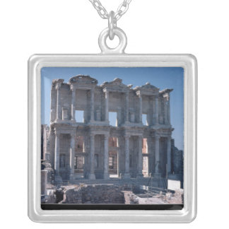 Celsus Library, built in AD 135 Silver Plated Necklace