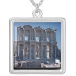 Celsus Library, built in AD 135 Square Pendant Necklace