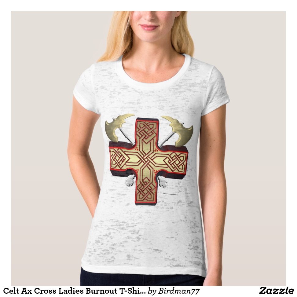Celt Ax Cross Ladies Burnout T-Shirt - Best Selling Long-Sleeve Street Fashion Shirt Designs