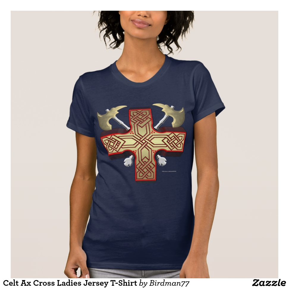 Celt Ax Cross Ladies Jersey T-Shirt - Best Selling Long-Sleeve Street Fashion Shirt Designs
