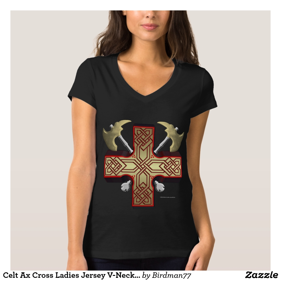 Celt Ax Cross Ladies Jersey V-Neck T-Shirt - Best Selling Long-Sleeve Street Fashion Shirt Designs